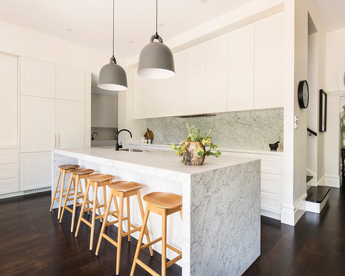 Inspiration For A Contemporary Galley Open Plan Kitchen In Melbourne With A  Double Bowl Sink