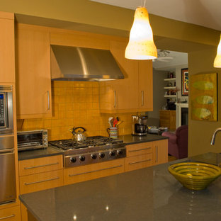 Modern enclosed kitchen pictures - Inspiration for a modern u-shaped light wood floor enclosed kitchen remodel in San Francisco with an undermount sink, flat-panel cabinets, light wood cabinets, quartz countertops, orange backsplash, terra-cotta backsplash, stainless steel appliances and an island