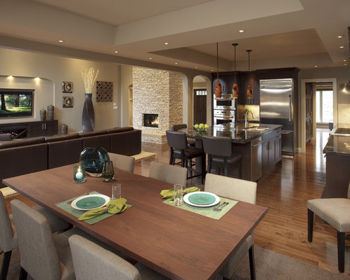 Open concept fireplace houzz - Open concept apartment design ...
