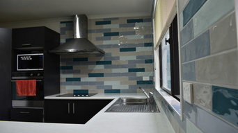 Renovation of Kitchen splash back , random brick bond, hand made tile