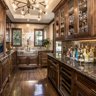 Traditional Kitchen Pantry Appliance   Inspiration For A Timeless Galley  Dark Wood Floor And Brown Floor