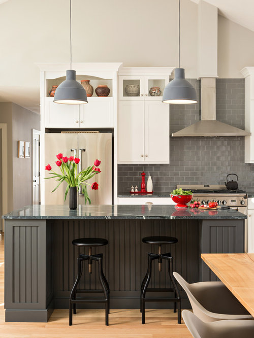 Elegant L Shaped Light Wood Floor Eat In Kitchen Photo In Boston With Shaker