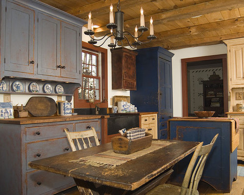 Awesome Inspiration For A Rustic Kitchen Remodel In Cincinnati With Wood  Countertops And Distressed Cabinets