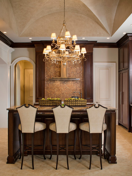 Wonderful Elegant Bar Stools For Kitchen Part - 3: Example Of A Transitional Kitchen Design In New Orleans With Recessed-panel  Cabinets, Dark