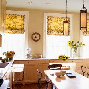 ワシントンD.C.の大きいエクレクティックスタイルのおしゃれなキッチン (アンダーカウンターシンク、シェーカースタイル扉のキャビネット、淡色木目調キャビネット、御影石カウンター、マルチカラーのキッチンパネル、セラミックタイルのキッチンパネル、パネルと同色の調理設備、無垢フローリング、アイランドなし) の写真