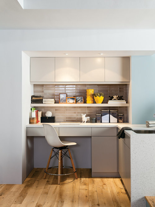 office in kitchen. contemporary kitchen idea in chicago with flatpanel cabinets and brown backsplash office n