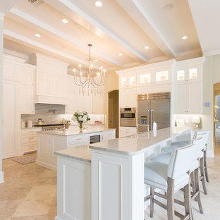75 Beautiful Kitchen With Marble Countertops And Two Islands