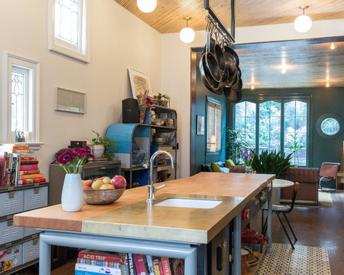 Inspiration For An Eclectic Galley Brown Floor Open Concept Kitchen Remodel  In San Francisco With An