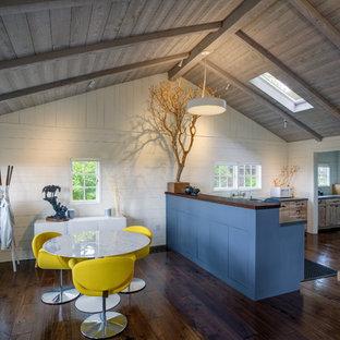 サンフランシスコの小さいラスティックスタイルのおしゃれなキッチン (シェーカースタイル扉のキャビネット、青いキャビネット、白い調理設備、無垢フローリング、茶色い床、アンダーカウンターシンク、白いキッチンパネル、珪岩カウンター) の写真