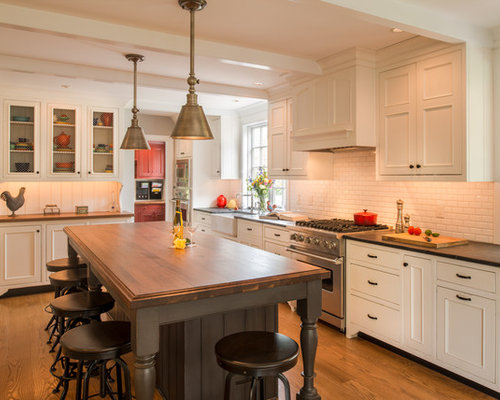 Eat In Kitchen   Large Traditional L Shaped Medium Tone Wood Floor Eat