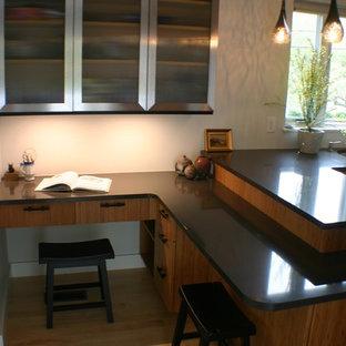 ボストンの小さいアジアンスタイルのおしゃれなキッチン (アンダーカウンターシンク、フラットパネル扉のキャビネット、淡色木目調キャビネット、クオーツストーンカウンター、マルチカラーのキッチンパネル、ガラスタイルのキッチンパネル、シルバーの調理設備の、淡色無垢フローリング、アイランドなし) の写真