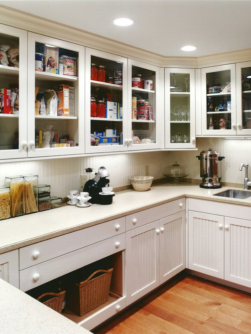 Wonderful Traditional Kitchen Idea In Cincinnati With Glass Front Cabinets And White  Cabinets