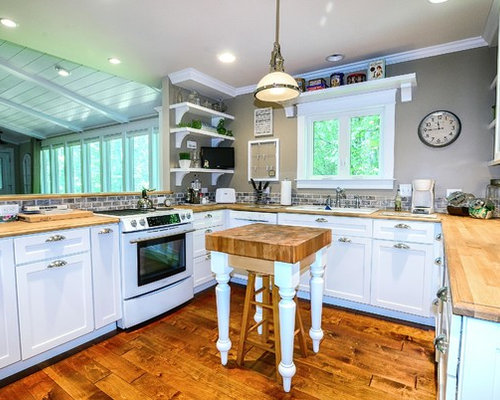 Elegant Open Concept Kitchen Photo In Other With Shaker Cabinets, White  Cabinets, Wood Countertops