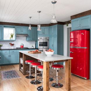 シカゴの中サイズのエクレクティックスタイルのおしゃれなキッチン (アンダーカウンターシンク、レイズドパネル扉のキャビネット、青いキャビネット、クオーツストーンカウンター、白いキッチンパネル、セラミックタイルのキッチンパネル、カラー調理設備、淡色無垢フローリング、グレーのキッチンカウンター) の写真