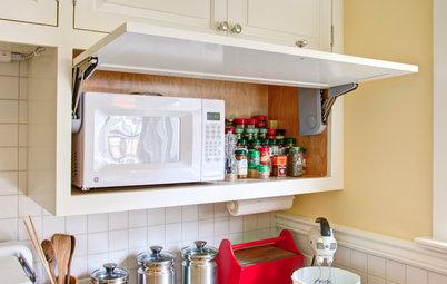 10 soluciones para encajar el microondas en la cocina