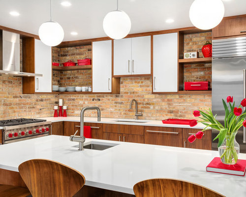 Midcentury Modern Kitchen Photos   Inspiration For A 1950s L Shaped Kitchen  Remodel In Chicago