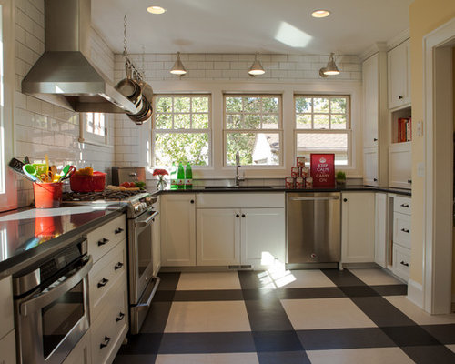 Inspiration For A Timeless Multicolored Floor Kitchen Remodel In Minneapolis With Stainless Steel Appliances White