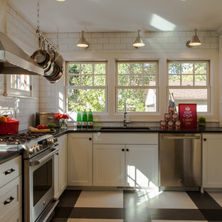 Example of a transitional multicolored floor enclosed kitchen design in Minneapolis with stainless steel appliances, an undermount sink, recessed-panel cabinets, white cabinets, white backsplash and subway tile backsplash