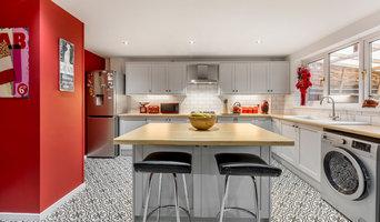 Retro White Kitchen with Statement Wall