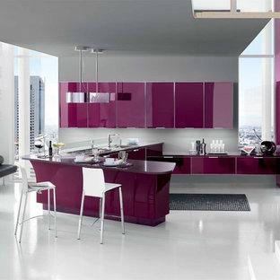 サンフランシスコのモダンスタイルのおしゃれなキッチン (アンダーカウンターシンク、フラットパネル扉のキャビネット、紫のキャビネット、珪岩カウンター、シルバーの調理設備、グレーの床、紫のキッチンカウンター) の写真
