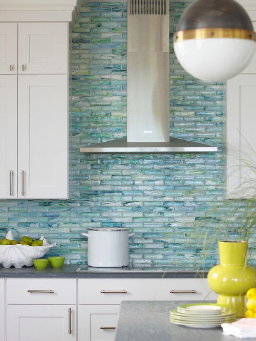 Awesome Sea Glass Tile Backsplash Ideas Part - 5: Beach Style Eat-in Kitchen Appliance - Eat-in Kitchen - Beach Style Eat