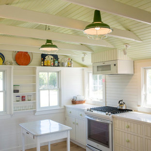Farmhouse kitchen photos - Kitchen - farmhouse galley medium tone wood floor and brown floor kitchen idea in Providence with an undermount sink, white cabinets, white appliances, an island and white countertops