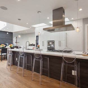 Inspiration for a mid-sized modern galley light wood floor eat-in kitchen remodel in San Francisco with an undermount sink, flat-panel cabinets, white cabinets, marble countertops and paneled appliances