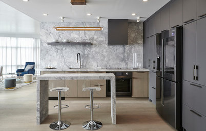 Sleek Toronto Kitchen Warms Up With Rich Gray Cabinets