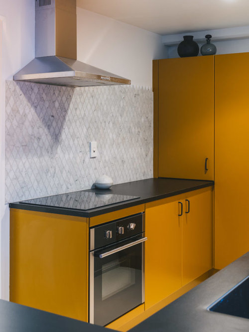 Auckland Kitchen Design Ideas Renovations Photos With Yellow Cabinets