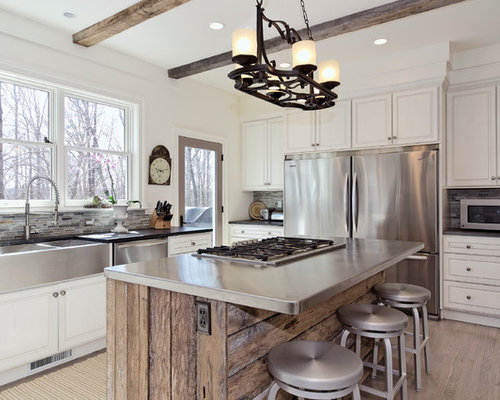White Kitchen Wood Island Houzz