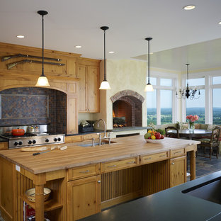 Inspiration for a country kitchen in DC Metro with wood worktops.