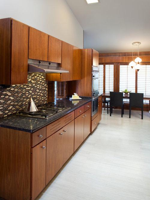 Midcentury Kitchen Design Ideas & Remodel Pictures with Linoleum Floors | Houzz
