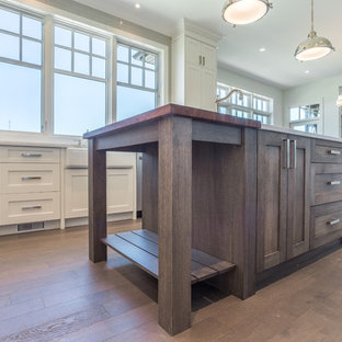 This is an example of a transitional kitchen in Calgary.
