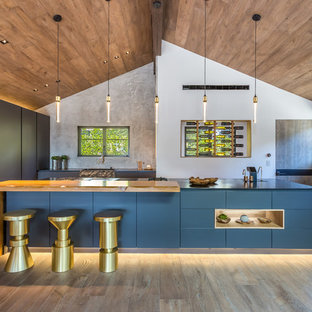 Midcentury l-shaped kitchen in Los Angeles with a farmhouse sink, flat-panel cabinets, blue cabinets, stainless steel appliances, dark hardwood floors, with island, brown floor and black benchtop.