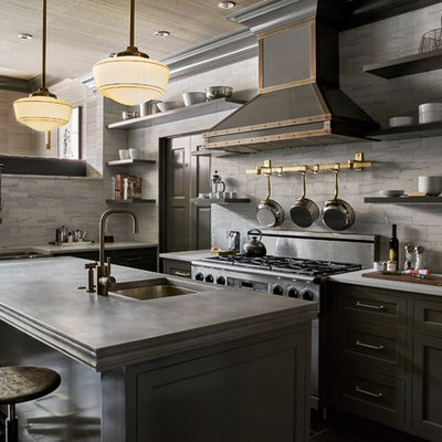 Eat-in kitchen - mid-sized transitional l-shaped porcelain tile eat-in kitchen idea in Philadelphia with an undermount sink, shaker cabinets, gray cabinets, gray backsplash, stainless steel appliances, an island and concrete countertops