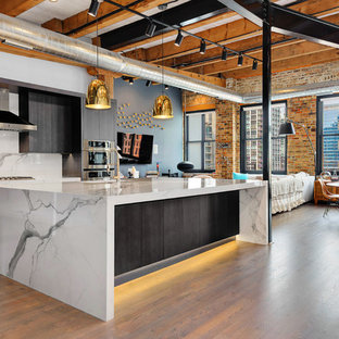Industrial eat-in kitchen designs - Inspiration for an industrial l-shaped light wood floor eat-in kitchen remodel in Chicago with an undermount sink, flat-panel cabinets, black cabinets, white backsplash, stainless steel appliances and an island