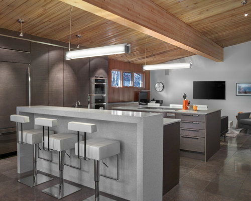 Midcentury kitchen design ideas renovations photos with for Kitchen cabinets 99 street edmonton