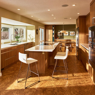Inspiration for a midcentury eat-in kitchen in Edmonton with a double-bowl sink, flat-panel cabinets, quartz benchtops, stainless steel appliances, cork floors and with island.