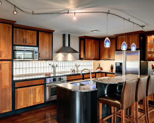 Example Of A Mid Sized Trendy L Shaped Dark Wood Floor Open Concept Kitchen