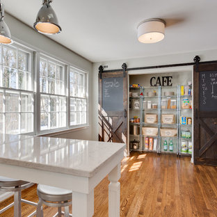 Inspiration for a cottage medium tone wood floor kitchen remodel in DC Metro