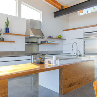 Contemporary Kitchen Liance L Shaped Concrete Floor And Gray