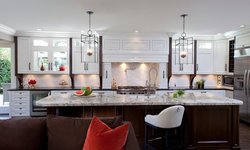 Robeson Design Kitchen with White Painted Cabinets and Storage Solutions Robeson