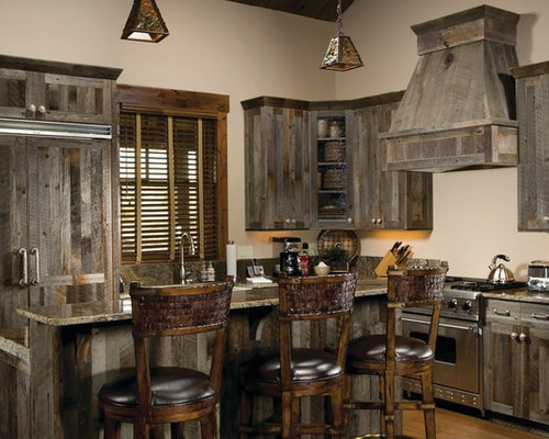 Barnwood cabinets houzz for Grey kitchen units sale