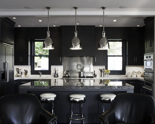 Black kitchen home design ideas pictures remodel and decor for Black kitchen design