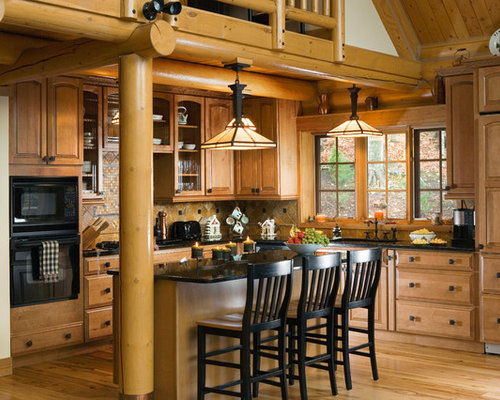 Rustic Kitchen Remodeling   Example Of A Mountain Style L Shaped Kitchen  Design In Other