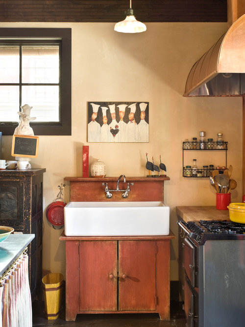 Inspiration For A Rustic Kitchen Remodel In Denver With Farmhouse Sink