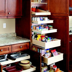Roll Out Pantry Shelves - Organize your kitchen with custom roll out pantry shelves in single and double heights.  Each shelf holds up to 100 pounds, allowing you to store all of your surplus foods and beverages.