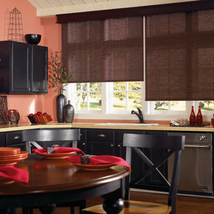 Roller and Solar Shades in Traditional Kitchen