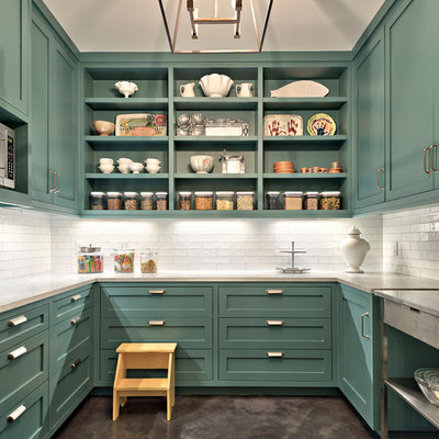 Kitchen pantry - large country u-shaped concrete floor and gray floor kitchen pantry idea in Austin with open cabinets, white backsplash, marble countertops, subway tile backsplash, stainless steel appliances, an island, white countertops and green cabinets