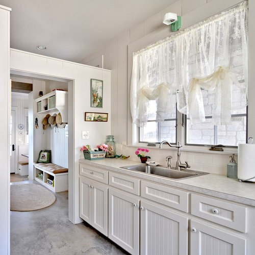 Inspiration For A Shabby Chic Style Concrete Floor Kitchen Remodel In  Austin With A Drop